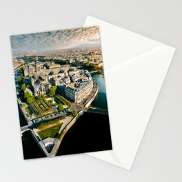 Aerial view of the Notre Dame in Paris Stationery Cards