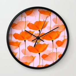 Orange Poppies On A Pink Background #decor #society6 #buyart Wall Clock