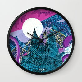 octopus attack purple clouds Wall Clock