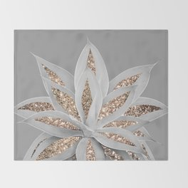 Gray Agave with Gold Glitter #1 #shiny #tropical #decor #art #society6 Throw Blanket