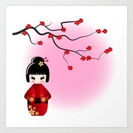 Japanese kokeshi doll at sakura blossoms Art Print