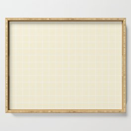 Cornsilk - pink color - White Lines Grid Pattern Serving Tray