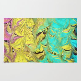 Rainbow Feather Water Marbling Rug