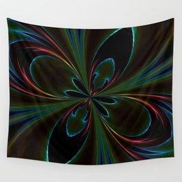 Neon Rainbow Digital Art Wall Tapestry