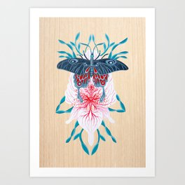 Butterfly White Orchid Tattoo on wood Art Print