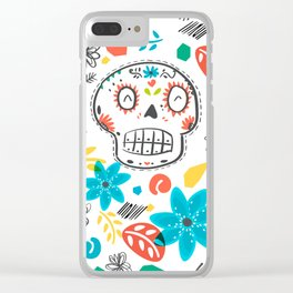 Summer sugar skulls Clear iPhone Case