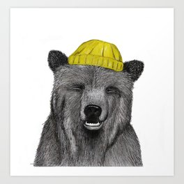 Hipster Bear Art Print