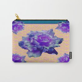 Teal Color Purple Roses Pink-Yellow Pattern art Carry-All Pouch