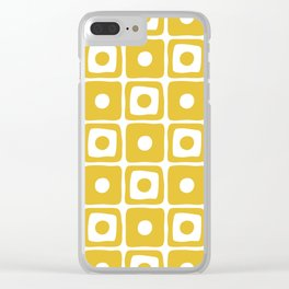 Mid Century Square Dot Pattern Mustard Yellow Clear iPhone Case