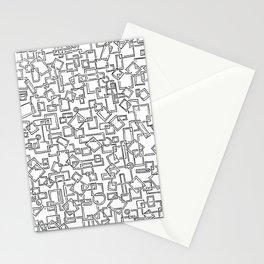 Graphic Geometric Black and White Minimalist Print Stationery Cards