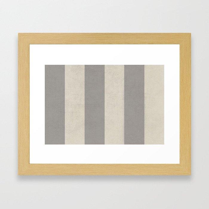 vintage gray stripes Framed Art Print
