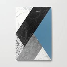 Black and White Marbles and Pantone Niagara Color Metal Print