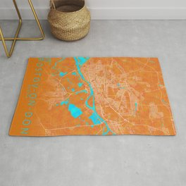 Rostov-on-Don, Russia, Gold, Blue, City, Map Rug