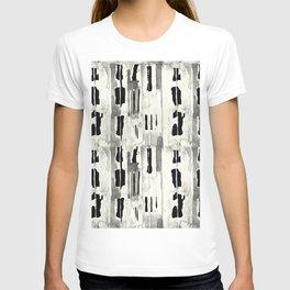 Minimal Black and Cream Abstract Design T-shirt