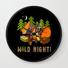 Camping Wild Night Wall Clock
