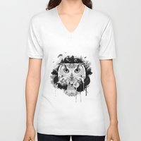 scandinavian V-neck T-shirts featuring Scandinavian Owl by Le Dous