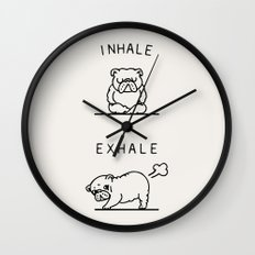 Inhale Exhale English Bulldog Wall Clock
