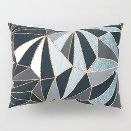 Stylish Art Deco Geometric Pattern - Black, blue, Gold #abstract #pattern Pillow Sham