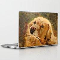 golden retriever Laptop & iPad Skins featuring Golden Retriever by Tidwell