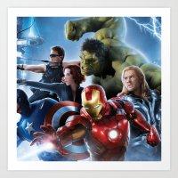 super heroes Art Prints featuring Super Heroes by Tom Lee