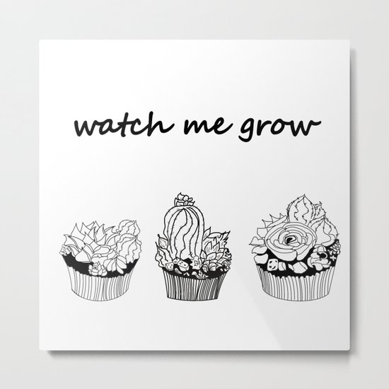 little cacti and succulents . Watch me grow Metal Print