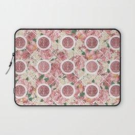 Double Happiness Symbol on Gentle Peony pattern Laptop Sleeve