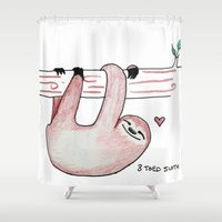 sloth Shower Curtains featuring Sloth by Daynasdoodleydoos