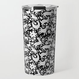 White on black Otomi style animal pattern Travel Mug