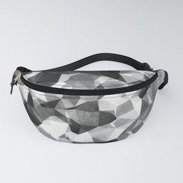 contemporary geometric polygon abstract pattern in black and white Fanny Pack