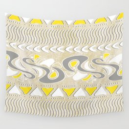 TRIBAL STAMP | oatmeal grey yellow Wall Tapestry