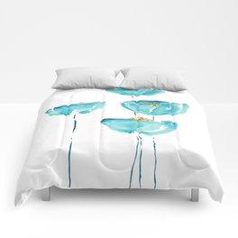 blue poppy watercolor Comforters