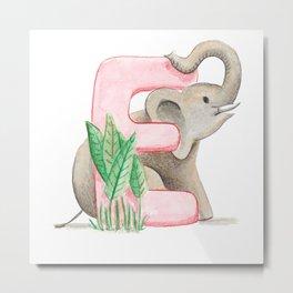 E de Elefante Metal Print