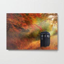 Home Waits in Autumn Trees Metal Print