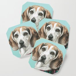 Sweet Beagle Painting, Distinguished Older Beagle Portrait Coaster