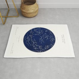 French May Star Maps in Deep Navy & Black, Astronomy, Constellation, Celestial Rug