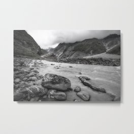 Dramatic perspective view in black and white from the Waiho River in New Zealand Metal Print