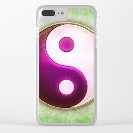 Yin Yang - Labradorite Pink Clear iPhone Case