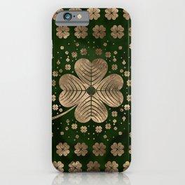 Golden Irish Shamrock Four-leaf clover iPhone Case