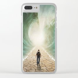 man walking through the water Clear iPhone Case