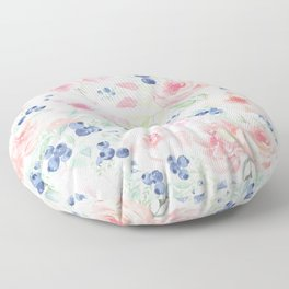 Midsummer Watercolor Roses And Blueberries  Floor Pillow