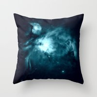 nebula Throw Pillows featuring Orion nebula : Teal Galaxy by 2sweet4words Designs