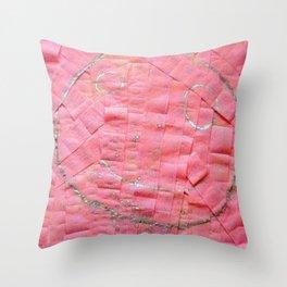 Smile on a pink toilet paper Throw Pillow