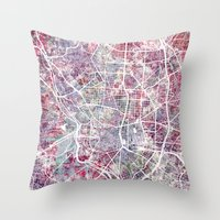 madrid Throw Pillows featuring Madrid map by MapMapMaps.Watercolors