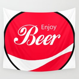 Enjoy Beer - Funny Vintage Cola Advertisement Parody Spoof - Red Round Reto Logo Wall Tapestry