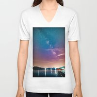 milky way V-neck T-shirts featuring Milky Way Over Water by 2sweet4words Designs