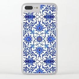 Art Nouveau Chinese Tile, Cobalt Blue & White Clear iPhone Case