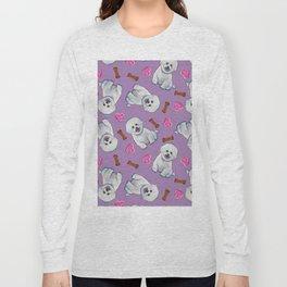 Bichon Frise Love Pattern on Lavender Long Sleeve T-shirt