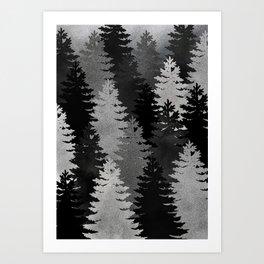 Pine Trees Black and White Art Print