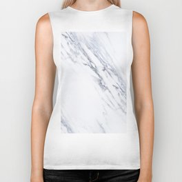 White Marble with Classic Black Veins Biker Tank