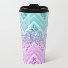Mermaid Glitter Chevron #1 #shiny #decor #art #society6 Travel Mug